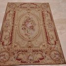 4x6 FRENCH AUBUSSON HANDMADE WOOL AREA RUG BEIGE RUST