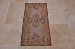 2x4 AREA RUG FRENCH AUBUSSON SAVONERRIE IVORY GOLD NEW