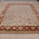 9x12 RUG HANDMADE VEGETABLE DYE CHOBI PERSIAN IVORY RED