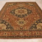 9x12 RUST BROWN AREA RUG HANDMADE WOOL 196 KPSI HERIZ