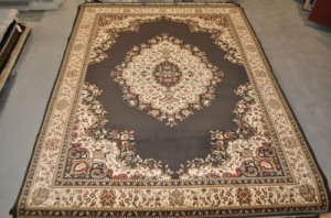 10x13 CHARCOAL IVORY GOLD RED AREA RUG RADICI COMO 1595 LARGE OVERSIZE NEW
