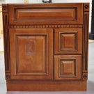"""30 Inch Heritage Style Caramel Bathroom Vanity Right Drawers Dentil Cabinet 30"""""""