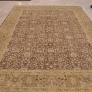 9x12 RUG PERSIAN VEGETABLE DYE WOOL BROWN IVORY YELLOW
