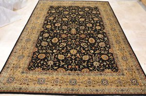10x14 AREA RUG HANDMADE KNOTTED BLACK GOLD MASTERPIECE