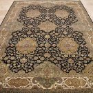 10x14 AREA RUG HANDMADE KNOTTED BLACK IVORY GREEN GOLD