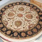 7' ROUND RUG HANDMADE WOOL TRADITIONAL JAIPUR IVORY/BLK