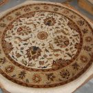 NEW 6 FT ROUND RUG HANDMADE WOOL TRADITIONAL IVORY/GOLD