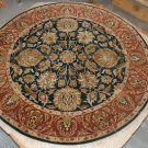 6' ROUND RUG HANDMADE WOOL JAIPUR TRADITIONAL BLACK/RED