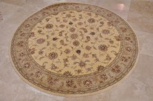6 FOOT ROUND AREA RUG HANDTUFTED WOOL SILK YELLOW GREEN