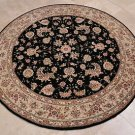 6 FOOT ROUND AREA RUG HAND TUFTED WOOL SILK BLACK BEIGE