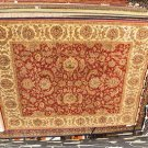 8x10 HANDMADE RUG JAIPUR RED IVORY GOLD GREEN THICK WOOL PLUSH PILE INDIA NEW