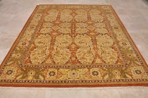 8x10 WOOL HAND KNOTTED AREA RUG BEIGE RUST PERSIAN FINE
