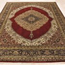 8x10 WOOL HAND KNOTTED AREA RUG RED-TAN BLACK MEDALLION