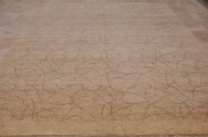 10x14 WOOL AREA RUG HANDMADE MODERN BEIGE KNOTTED TRANS