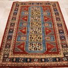 5x7 HAND KNOTTED WOOL AREA RUG RED BLUE TRIBAL PAKISTAN