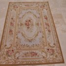4x6 WOOL AREA RUG FRENCH AUBUSSON HANDMADE IVORY GOLD