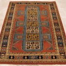 5x6 HAND KNOTTED WOOL AREA RUG RUST BLUE TRIBAL RARE