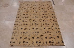 5x6 HAND KNOTTED WOOL AREA RUG BEIGE VEGETABLE DYE THIN