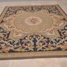 9x12 FRENCH AUBUSSON SAVONERRIE RUG THIN WOOL BLUE GOLD