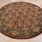 8 FOOT ROUND RUG WOOL HANDMADE RED BLACK MASTERPIECE