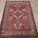 TRIBAL 4x6 KAZAK HANDMADE KNOTTED WOOL AREA RUG RED