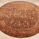 8 FOOT ROUND RUG HANDMADE WOOL BROWN RED SAROUK
