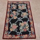 3x5 WOOL AREA RUG FRENCH AUBUSSON NAVY RED TAPESTRY