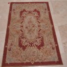 3x5 HANDMADE WOOL AREA RUG FRENCH AUBUSSON RUST GOLD