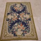 3x5 HANDMADE WOOL AREA RUG FRENCH AUBUSSON BLUE GREEN