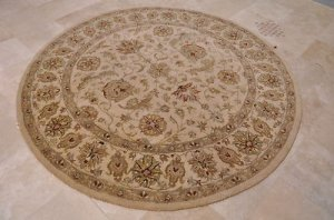 8 FOOT ROUND AREA RUG TUFTED WOOL BEIGE GOLD NO FRINGE