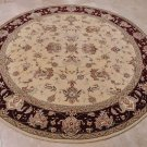8 FOOT ROUND AREA RUG HAND TUFTED SILK WOOL IVORY BURG.