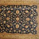 8x10 RUG BLUE IVORY GOLD RED VEGETABLE CHOBI MUTED HANDMADE GAZANI WOOL PAKISTAN