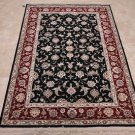 4x6 WOOL&SILK HANDMADE AREA RUG FINE BLACK RED WHITE