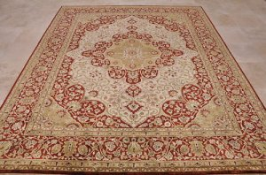 8x10 WOOL HAND KNOTTED AREA RUG IVORY RED RUST PERSIAN