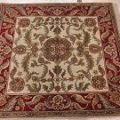 4 FOOT SQUARE AREA RUG HAND KNOTTED IVORY RED JAIPUR