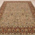 8x10 WOOL HAND KNOTTED AREA RUG TAUPE WINE MASTERPIECE