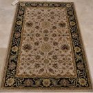 4x6 WOOL AREA RUG PERSIAN BEIGE BLACK HAND MADE TUFTED