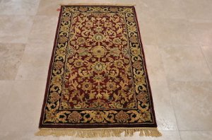 3x5 WOOL AREA RUG PERSIAN RED BLACK HAND MADE TUFTED