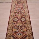 2.5x12 WOOL RUNNER HANDMADE RED WINE BEIGE PAK PERSIAN