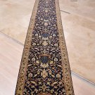 2.5x25 FOOT HANDMADE RUNNER WOOL BLUE BEIGE TAN PERSIAN