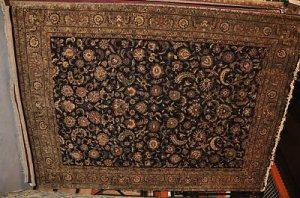 9x12 WOOL RUG PERSIAN KASHAN BLACK GREEN HANDMADE GOLD