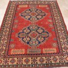 6x7 AREA RUG WOOL HAND KNOTTED TRIBAL KAZAK RED IVORY