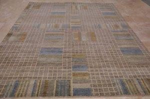 9x12 MODERN RUG VEG DYE GHAZNI WOOL BEIGE BLUE GRAY TAN