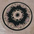 3 EMERALD ROUND HANDMADE AREA RUG FRENCH AUBUSSON IVORY