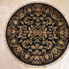 3x3 FOOT ROUND HANDMADE AREA RUG BLACK KNOTTED JAIPUR