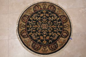 3x3 FOOT ROUND HANDMADE AREA RUG CHARCOAL IVORY RED MAT