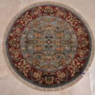3x3 FOOT ROUND HANDMADE AREA RUG GRAY RED DOOR MAT BLUE