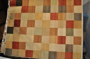 8x10 MODERN RUG SQUARES RED GOLD TAN RUST BROWN BEIGE