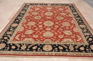 9x12 RUG HANDMADE PERSIAN KASHAN RED BLACK TWISTED WOOL