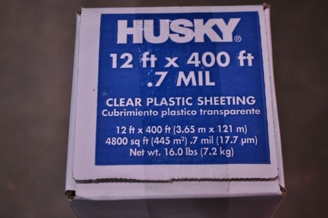 12' x 400' .7 mil Clear Husky Plastic Sheeting Poly Visqueen Painters Dropcloth